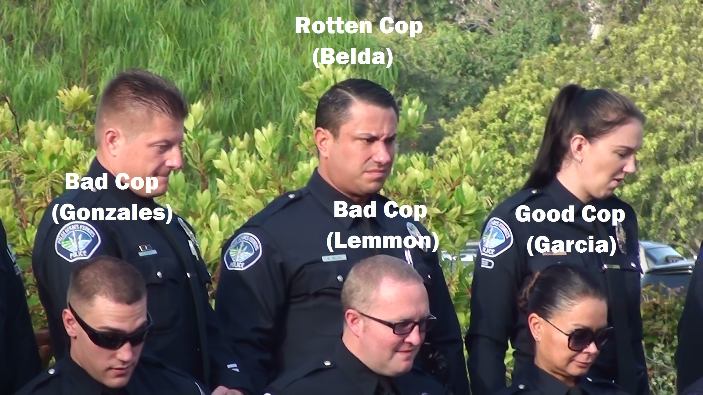 Belda Aaron Gonzales Alex 6 Officers Photo Day 09-22-2015 - Annotated