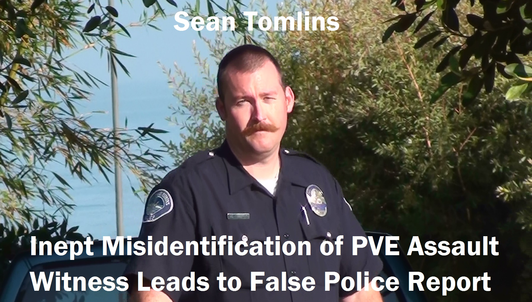 Sean Tomlins: spending more time on waxing his Village People mustache than identifying crime witnesses?