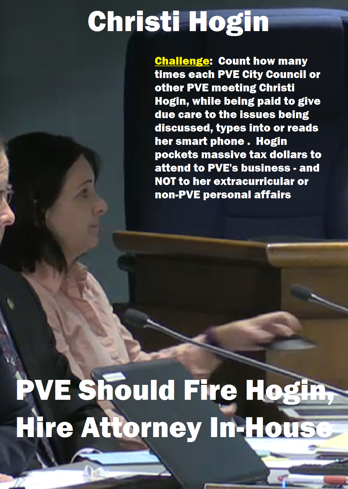 Hogin Using Mobile Phone City Council Meeting 03-08-2016 - Cropped & Annotated