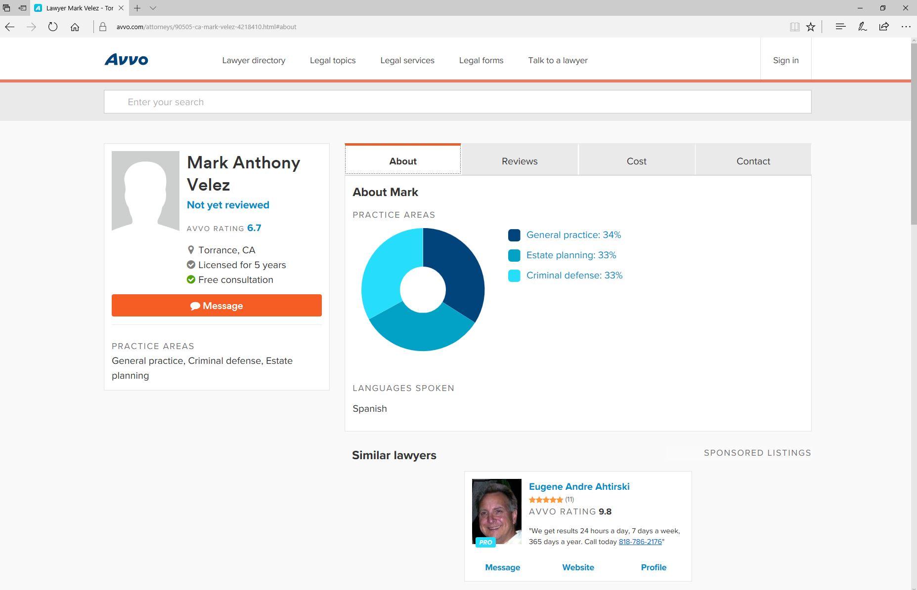 Velez Mark Avvo Profile Criminal Defense