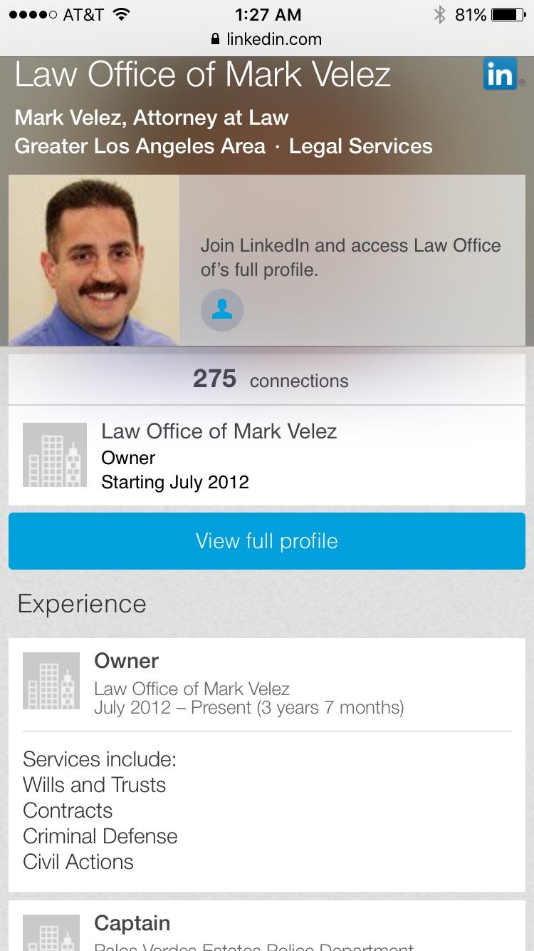 Velez Mark LinkedIn Criminal Defense